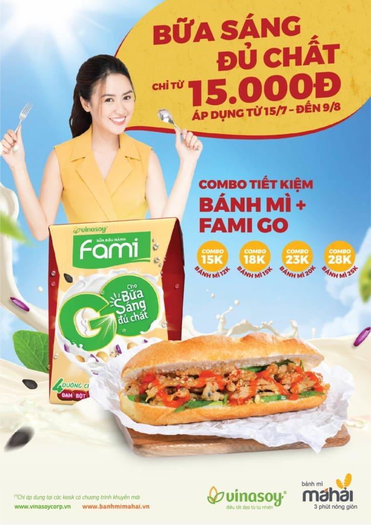 Khuyến mãi combo bữa sáng năng lượng với Bánh mì Má Hải và Fami Go chỉ từ 15000 đồng.